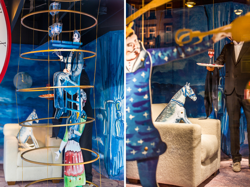 "Courtesy of: www.designboom.com ""Hermès windows at Bijenkorf Store, Amsterdam: circus acts and acrobats"" detail for Hermès by Kiki van Eijk"