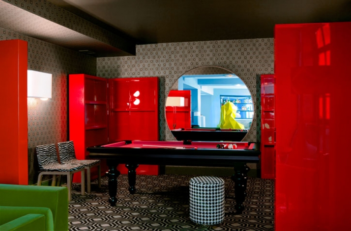 "Courtesy of: www.yatzer.com ""Cafè Germain"", Paris, interior design by India Mahdavi and graphic identity by Studio M/M, Paris"