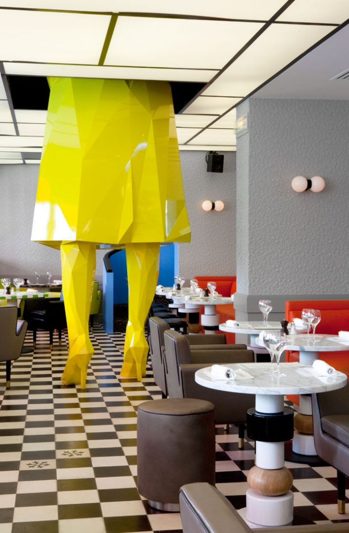 "Courtesy of: www.yatzer.com ""Sophircculture"" by Xavier Veilhan ""Café Germain"", Paris, interopr design by India Mahdavi and graphic identity by Studio M/M, Paris"