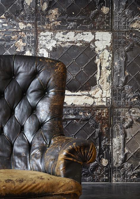 "Courtesy of www.abigailahern.com ""American Tin Tiles Wallpaper Black"" Abigail Ahern's Atelier"