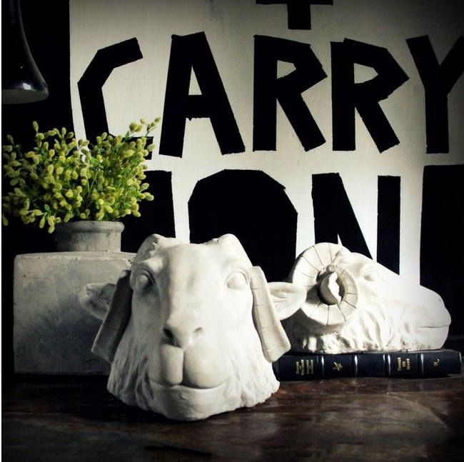 """Courtesy of www.barbarasmith.fr Barbara Smith's painting """"Keep Calm+ Carry On"""" at Abigail Ahern's home office"""